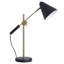 Black And Brass Adjustable Desk Lamp With Cone Shade
