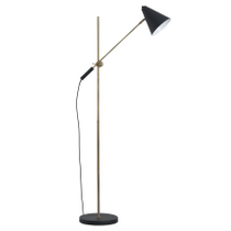 Black And Brass Adjustable Floor Lamp With Cone Shade