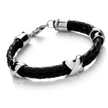 Tribal Steel Men's Leather Bracelets