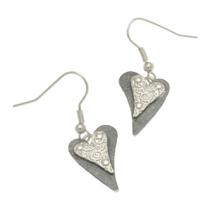 Grey Heart Earrings