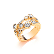 Silver, CZ and Gold Vermeil Boodled Ring