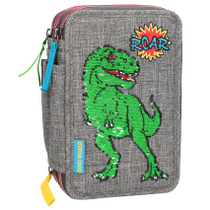DinoWorld Filled Triple Pencil Case Sequins