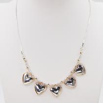 Multi heart pendant short snake chain necklace