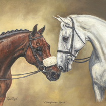 """Champions Meet - Red Rum and Desert Orchid"" by Philippa Porley"