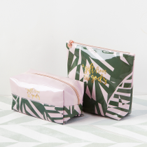 Calligraphy Tropical Pink Cosmetic Bags