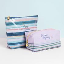 Dream Odyssey Stripe Aqua  Cosmetic Bags