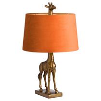 Antique Gold Giraffe Lamp With Burnt Orange Velvet Shade