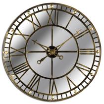 Large Antique Brass Mirrored Skeleton Clock