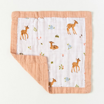Organic cotton muslin comforter security blanket - Fawn