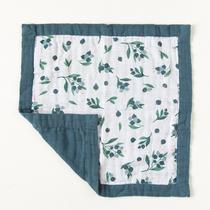 Organic cotton muslin comforter security blanket - Blueberry
