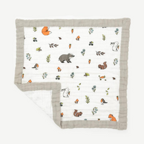 Organic cotton muslin comforter security blanket - Into the woods