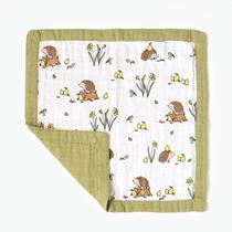Organic cotton muslin comforter security blanket - Woodland hedgehog