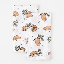Organic cotton muslin squares - Bear cub