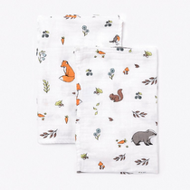 Organic cotton muslin squares - Into the woods