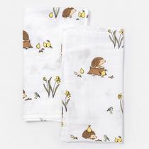 Organic cotton muslin square cloths - Woodland hedgehog