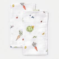 Organic cotton muslin square cloths - In the garden