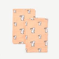 Organic cotton muslin squares - Long ear bunny