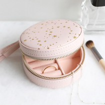 PINK WITH GOLD STARS MINI ROUND TRAVEL JEWELLERY CASE