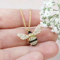 LARGE CRYSTAL BUMBLEBEE PENDANT NECKLACE