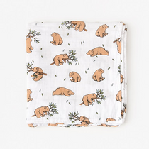 Organic cotton muslin swaddle blanket - Bear cub