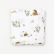 Organic cotton muslin swaddle blanket - Woodland hedgehog
