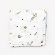 Organic cotton muslin swaddle blanket - In the garden