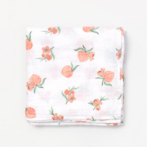Organic cotton muslin swaddle blanket - Peach blossom