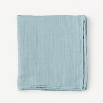 Organic cotton muslin swaddle blanket - Dusty blue