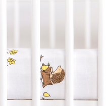 Organic cotton muslin fitted cotbed sheet - Woodland hedgehog