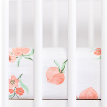 Organic cotton muslin fitted cotbed sheet - Peach blossom