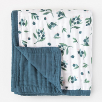 Organic cotton muslin quilt 4 layer - Blueberry