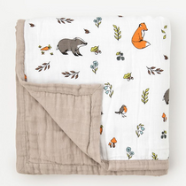 Organic cotton muslin quilt 4 layer - Into the woods