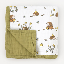 Organic cotton muslin quilt blanket 4 layers - Woodland hedgehog