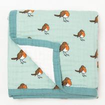 Organic cotton muslin quilt 4 layer - Little robin