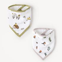 Organic cotton muslin set of bandana bibs - Into the woods + Woodland hedgehog