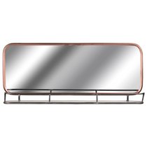 Industrial Copper Effect Wall Mirror With Shelf