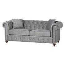 Grey Velvet Chesterfield Three Seater Sofa