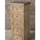 Zephyr  Zinc Top 5 Drawer Chest