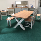X leg Table With Chairs & Bench