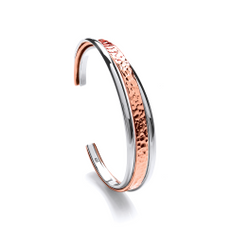 e4d685ebd Sterling Silver and Copper Hammered and Shiny Cuff Bangle