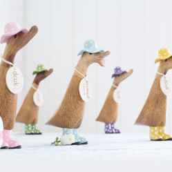 Natural Finish Ducks with Spotty Hats and Welly Boots