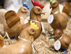 Natural Finish Chickens with Spotty Cowboy Boots