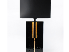 Art Deco black gold table lamp in fused glass