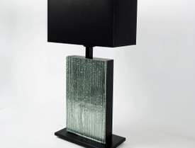 Silver Wood glass table lamp