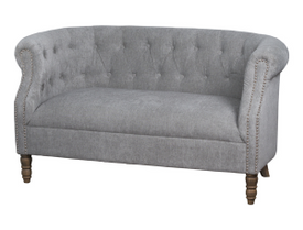 Silver Button Pressed 2 Seater Sofa
