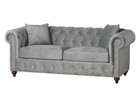 Grey Velvet Chesterfield Three Seater Sofa