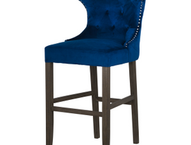 Navy Velvet Tufted High Bar Stool