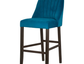 Teal Velvet Scalloped Back High Bar Stool