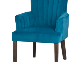 Teal Velvet Scalloped Back Chair
