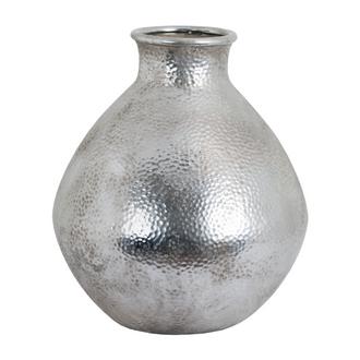 Metallic Ceramic Spherical Vase With Raised Neck